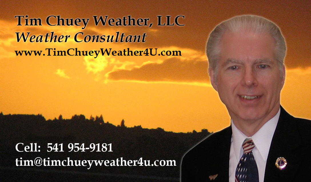 Tim Chuey Weather 4U, Tim Chuey Weather LLC.,Oregon weather, weather, weather forcast, weather forcasting, weather maps, weather consultant, weather consulting, National Weather Association, American Meteorological Society